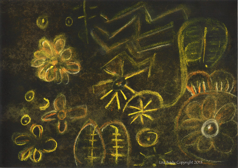 Strange symbols began to appear on the walls illuminated by the beautiful golden light