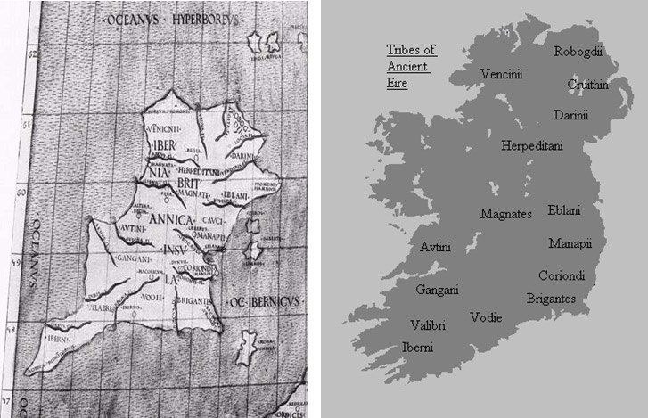 Ptolomy's Map of Ireland Circa 100AM