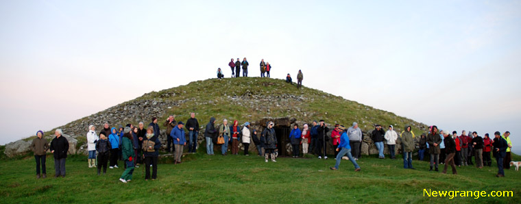Waiting for the rising sun at Loughcrew Cairn T