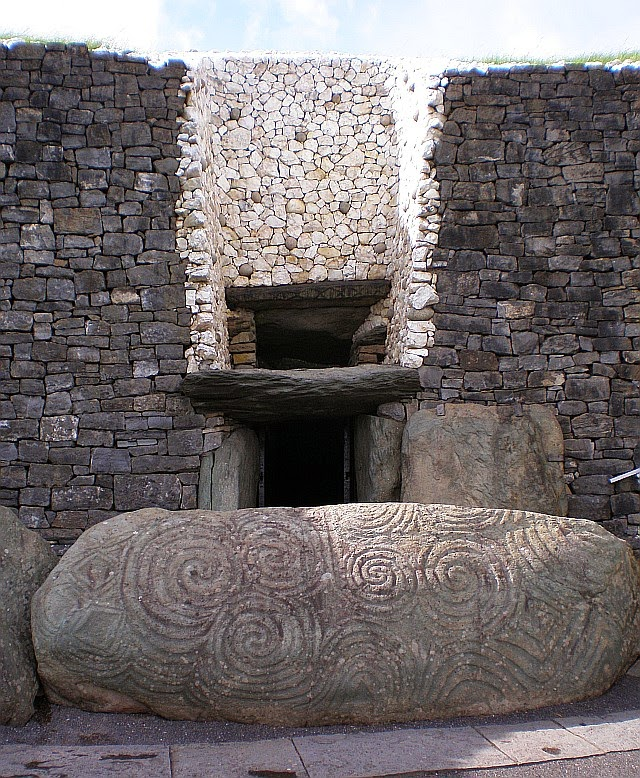 Entrance to Newgrange -- the critical roof-box is above the entrance.