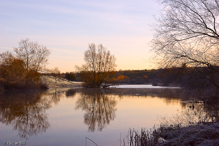 An early morning view of the River Boyne near Newgrange in winter