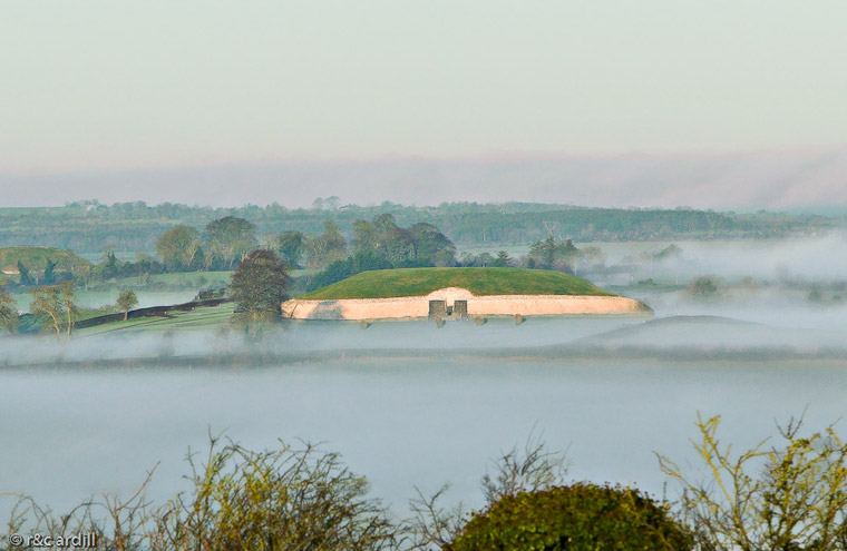 Newgrange shrouded in mist